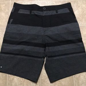 Micros men's black and gray striped shorts